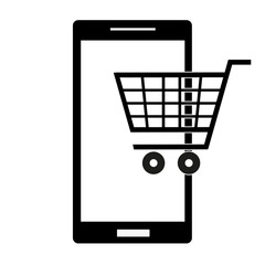 supermarket icon in the phone on a white background