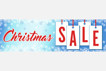 Snowflakes Christmas Sale Wide Banner Vector Illustration 1