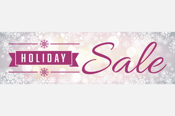 Holiday Sale Soft Focus Snowflakes Wide Banner Vector 1