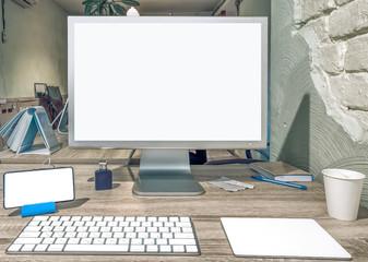 Blank screen of modern desktop computer.