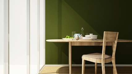 dining area and green wall in home or apartment- Interior design for artwork of restaurant or room for rent- 3D Rendering