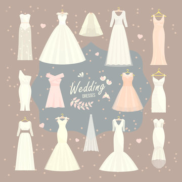 Wedding dresses vector set bride and bridesmaid white wear dressing accessories bridal shower celebration and marriage dressy fashion isolated illustration.