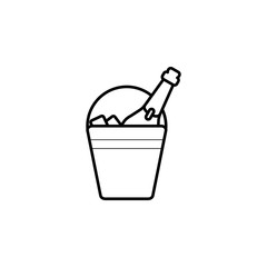 bucket of champagne line Icon