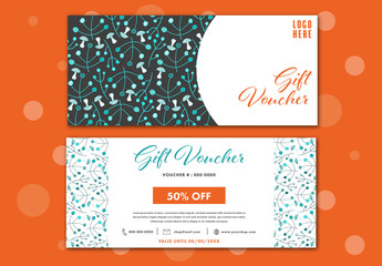 Teal and Orange Illustrated Gift Voucher