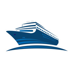 Blue cruise ship, symbol logo