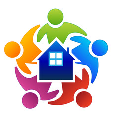 Teamwork people surrounding house home