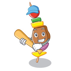 Playing baseball barbecue character cartoon style