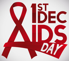 Red Ribbons and Date to Commemorate World AIDS Day, Vector Illustration