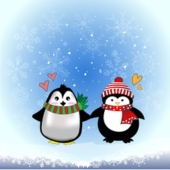 Cute drawing cartoon penguin wearing sweater, scarf, winter hat on iceberg with snowfall, snowflake and blue sky background, vector and illustration winter and christmas concept