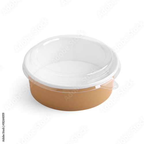 Paper food container with plastic lid isolated on white background ...