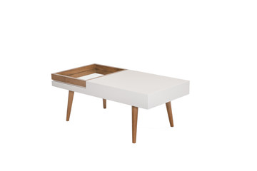 Wooden modern Table on white background.
