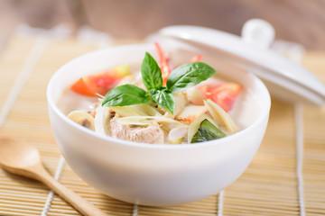 Thai food (Tom Kha Kai), Thai coconut milk soup with chicken