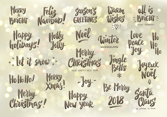 Set of holiday greeting quotes and wishes. Hand drawn text. Great for cards, gift tags and labels, photo overlays, party posters.