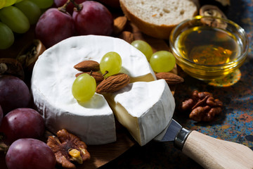 Camembert cheese, fruits and honey on a dark background