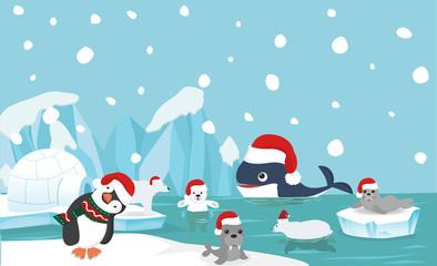 North pole animal background with santa hat