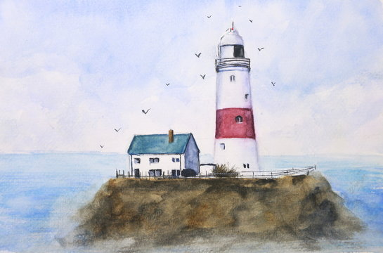 watercolor lighthouse sky and sea with birds