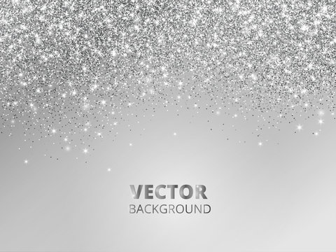 Falling glitter confetti. Vector silver dust, explosion on grey background. Sparkling glitter border, festive frame.