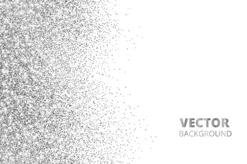 Glitter confetti, snow falling from the side. Vector silver dust, explosion isolated on white. Sparkling border, frame.