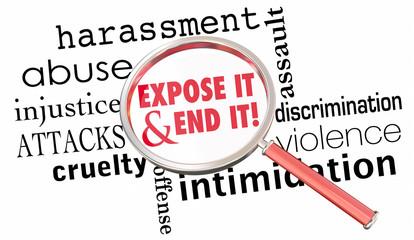 Expose End Harassment Abuse Assault Magnifying Glass 3d Illustration