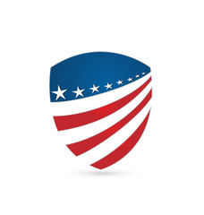 USA flag emblem protection shield icon