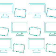 computer monitor and tablet pattern image vector illustration design  blue to green ombre