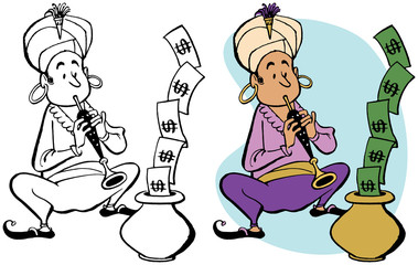 A snake charmer makes dollar bills rise out of a basket with his flute.