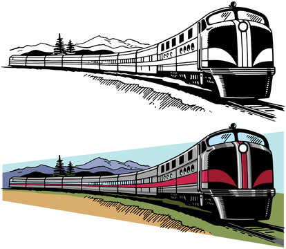 A passenger train speeds across a mountainous landscape.
