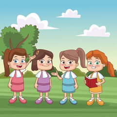 Students kids at park icon vector illustration graphic design