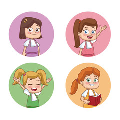 Students kids round icons icon vector illustration graphic design