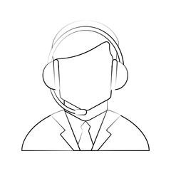 Call center man avatar icon vector illustration graphic design