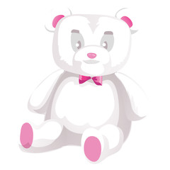 Cute white teddy bear isolated on white background. Vector illustration.