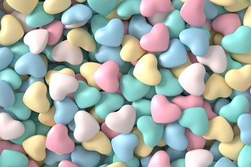 Abstract background of hearts. 3d rendering.