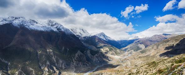 Panoramic view on Himalayas mountains. Nepal