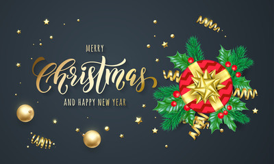 Merry Christmas and Happy New Year holiday golden calligraphy and gold decoration greeting card background. Vector Christmas tree holly decoration, red gift and ribbon confetti on black premium design