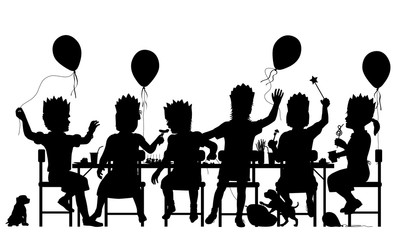 Girls party silhouette