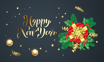 Hppy New Year golden decoration and gold font calligraphy greeting card design. Vector Christmas gift box on tree wreath decoration for Xmas holiday black premium shiny stars confetti background