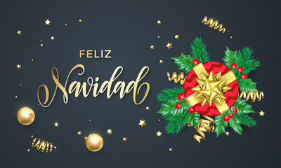 Feliz Navidad Spanish Merry Christmas holiday golden calligraphy and gold decoration greeting card template. Vector Christmas tree holly wreath decoration confetti on black premium background design