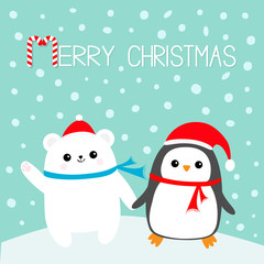 Merry Christmas. Candy cane. Kawaii Penguin bird Polar white bear cub. Red Santa Claus hat, scarf. Cute cartoon baby character. Flat design Winter blue background with snow flake. Greeting card.