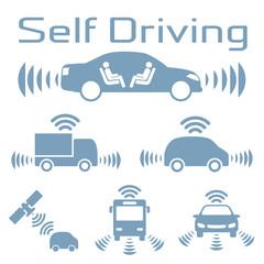 Autonomous car icon set.