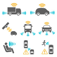 Autonomous car icon set.