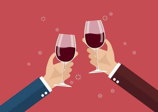 Businessmen toasting a wine glasses