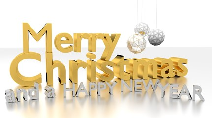 Merry Christmas and a happy new year 3D text