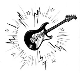 Electric guitar. Black and white ink illustration.