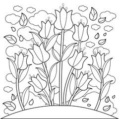 Meadow with tulip flowers. Black and white coloring book page.