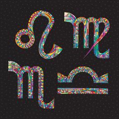Zodiac signs Lion, Virgo, Libra, Scorpio. Hand drawn horoscope symbols. Astrology vector illustration.