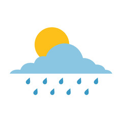 cloud sun and drops rain weather sky vector illustration