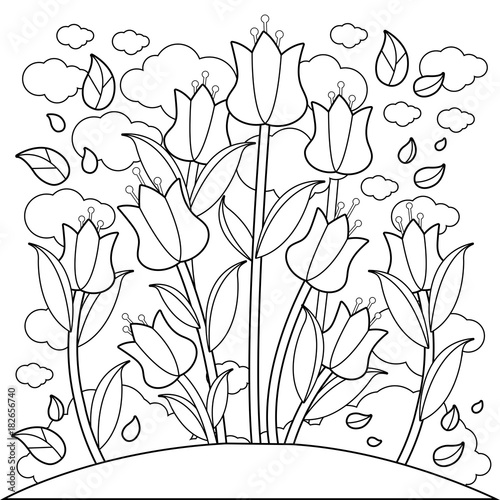 Meadow with tulip flowers. Black and white coloring book ...