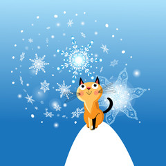 Winter card with cat on blue background