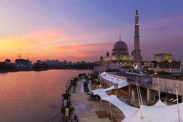 Putra Mosque, Putrajaya Malaysia at sunset