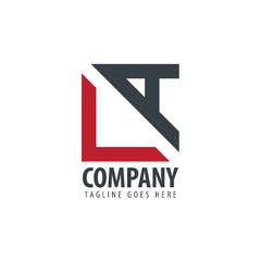 Initial Letter LA Design Square and Triangle Logo